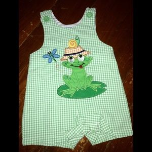 NWT Boys Frog Theme Shortall Sz 12 M